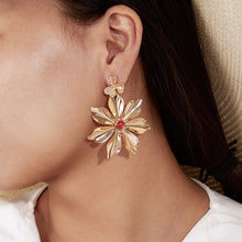 Load image into Gallery viewer, Gold & Orange Flower Earrings