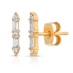 14k gold plated brass (tarnish resistant) with cz baguette stones.   2 baguette cz stones with 3 round cz stones 11.5 mm long