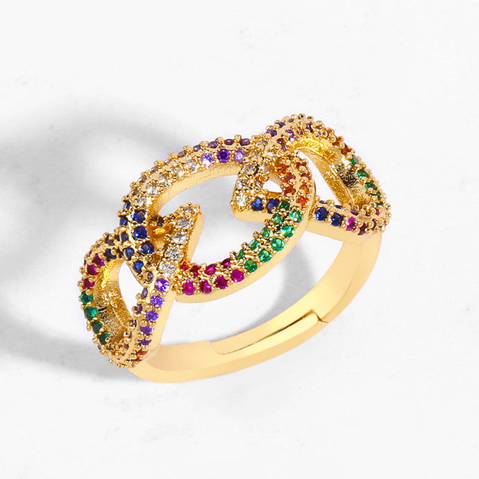 Rainbow Interlaced Ring
