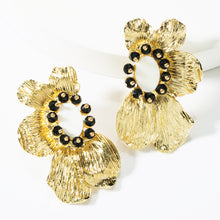 Load image into Gallery viewer, Tri-Clover Flower and Stone Earrings