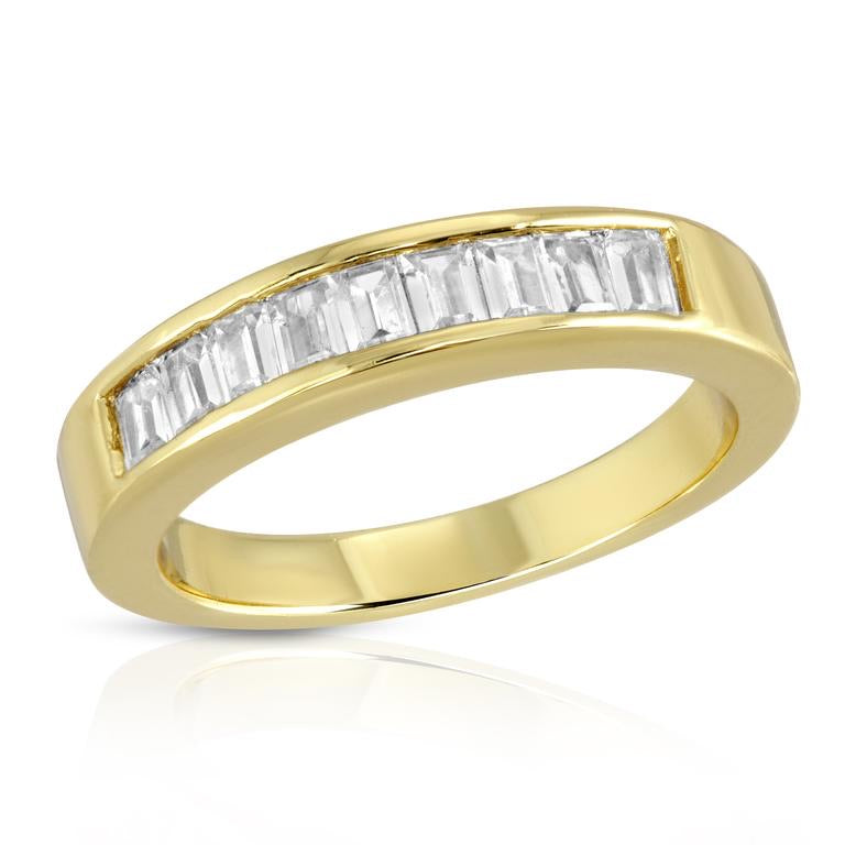 14k gold plated brass (tarnish resistant) ring, with 9 inset baguette cz stones. Slightly chunky modern feel, but also perfect for stacking with others.  5 mm at widest point