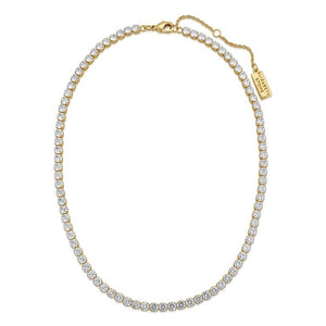 18k gold plated (tarnish resistant) tennis style choker with sparkling cubic zirconia stones.  12.5 inches with 3 inch extender