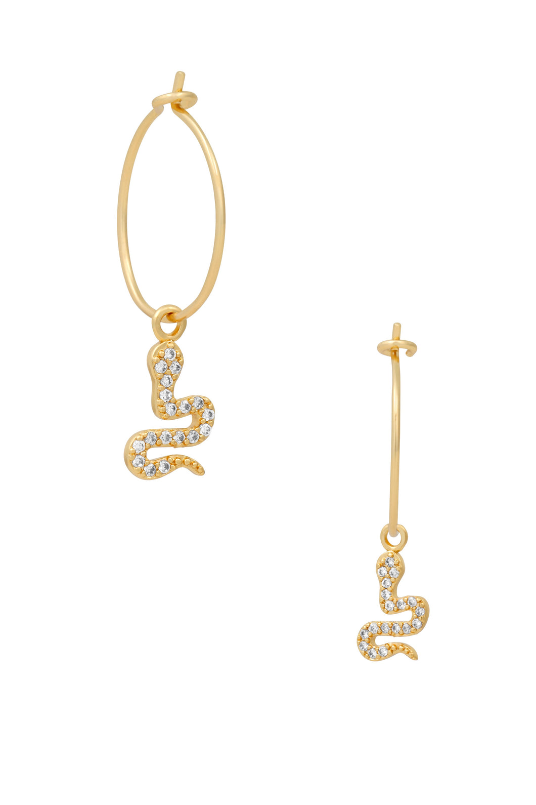 Petite charm hoop earrings. An extra thick layer of 14k gold plated with brass base. Sterling silver hoop base and cubic zirconia accents. Approximately 15mm hoop. Charm measures 13mm.  What we love about this style: the subtle amount of sparkle
