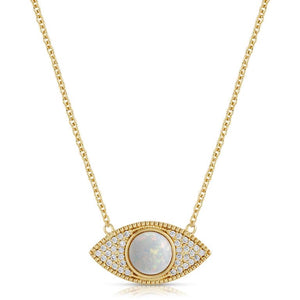 18k gold plated brass (tarnish resistant) eye with lab grown opal center and cz pave.  16 inch chain with 2 inch extender.