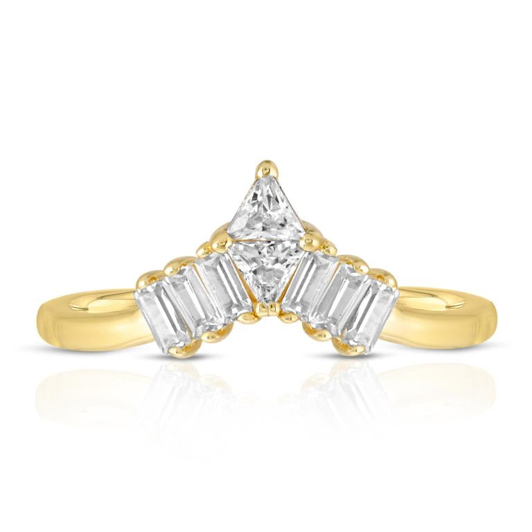 Gorgeous baguette cz stones with 2 triangle center cz stones create a beautiful tiara for your finger. 14k gold plated brass (tarnish resistant).