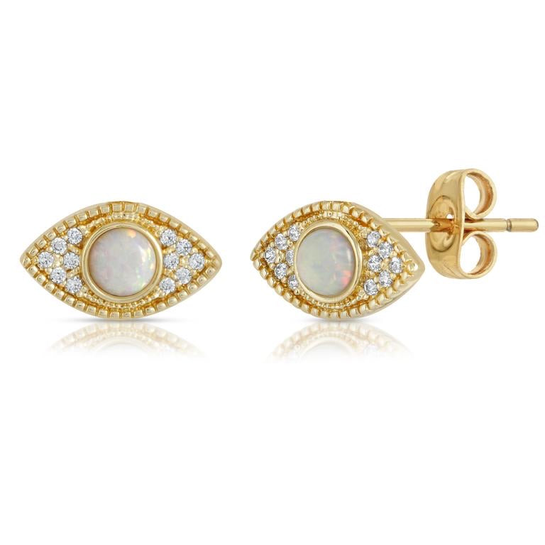 18k gold plated brass (tarnish resistant) studs with lab created opals and pave cz stones.   9 mm 3 mm opal