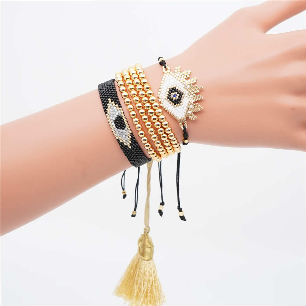 Evil Eye Miyuki and Beads Bracelet Set