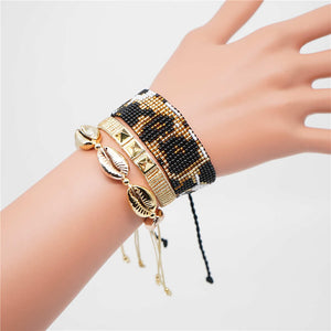 Shell and Animal Print Bracelet Set