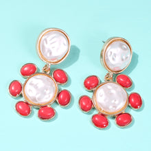 Load image into Gallery viewer, Pearl and Stone Earrings |