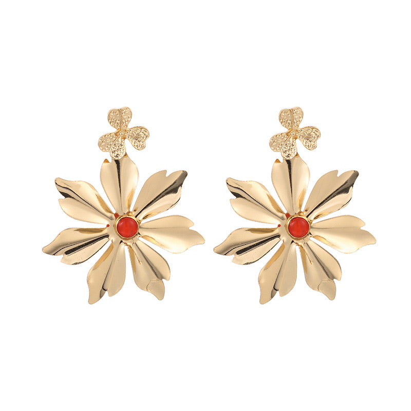 Gold & Orange Flower Earrings