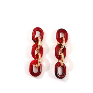 Red Link Earrings