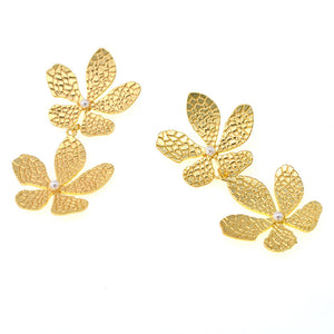 Double Gold Flower Earrings