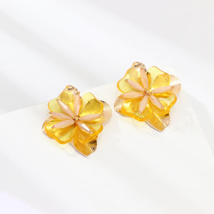 Metal and Resin Flower Earrings