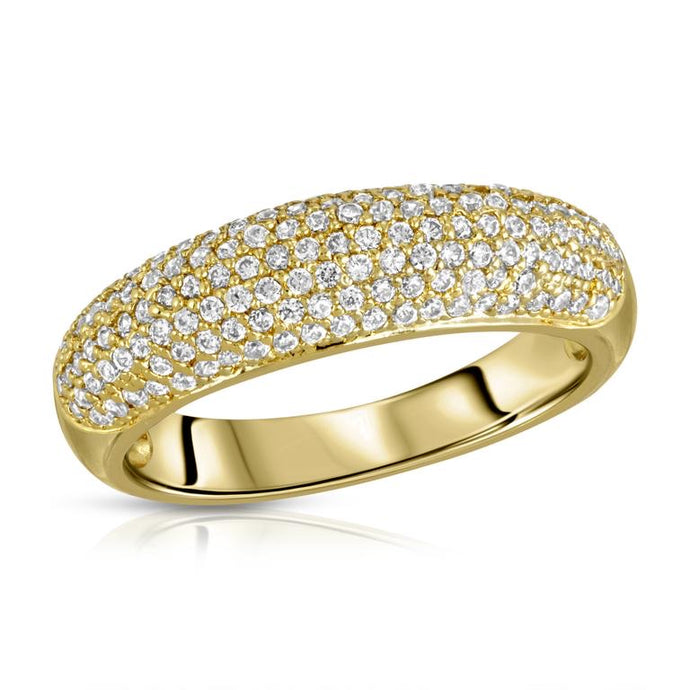 Beautiful 18k gold plated (tarnish resistant) modern dome ring with sparkling cz pave.