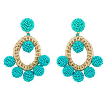Load image into Gallery viewer, turquoise bohemian beaded earring