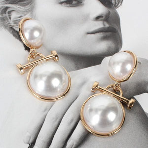 double round pearl earrings