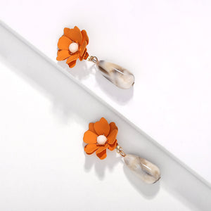 Flower and Bead Drop Earring
