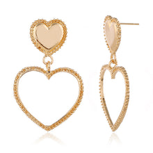 Load image into Gallery viewer, Double Gold Heart Earrings