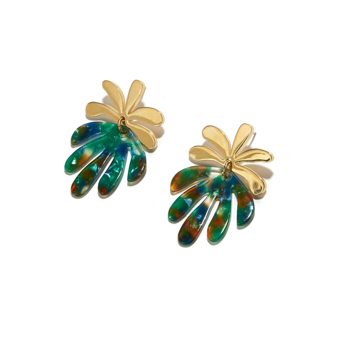 Vine Drop Earrings Laurel Green