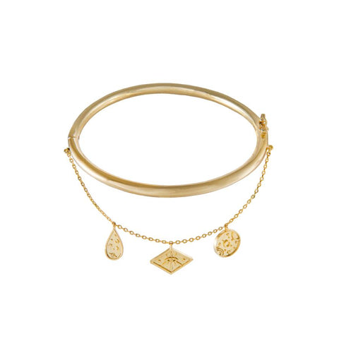 Galaxy Charms Gold Bangle