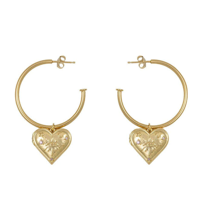 Harlow Gold Locket Hoop Earrings