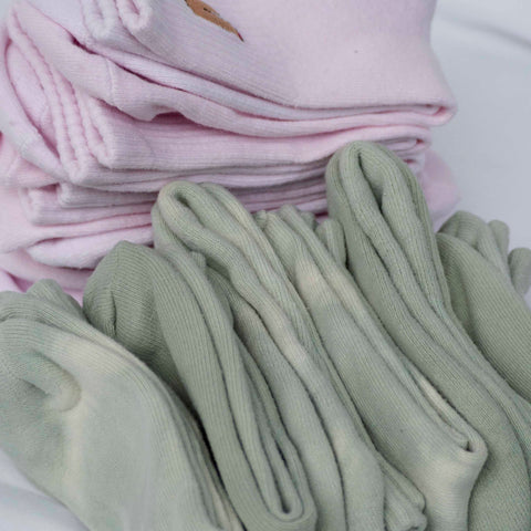 Peony pink and olive green socks
