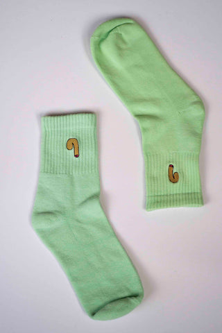 Green dyed novelty socks
