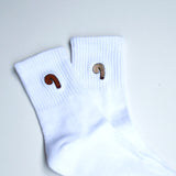 classic white mens cotton sports socks with novetly penis from cocks on socks
