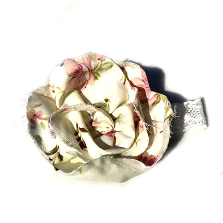 Vintage Floral Flower Hand Stitched Baby Headband - Boutique Wedding Collection - Baby Hair UK
