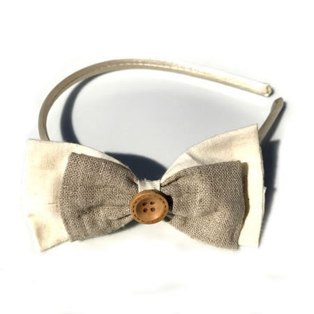 Rustic Cotton Bow Button Baby Headband - Boutique Wedding Collection - Baby Hair UK