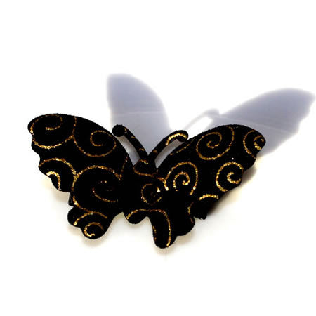 Black Butterfly with Gold Detail Hair Clip - Christmas Collection - Baby Hair UK