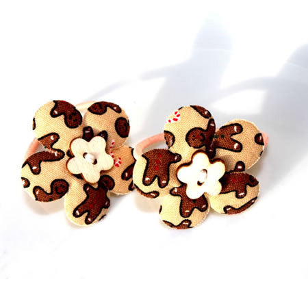 Christmas Gingerbread Patterned Flower Bobbles - Christmas Collection - Baby Hair UK
