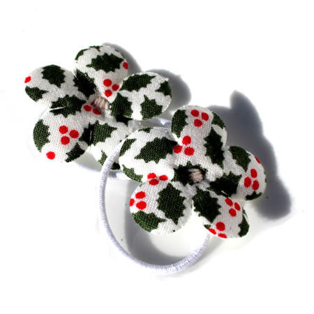 Christmas Holly Patterned Flower Bobbles - Christmas Collection - Baby Hair UK