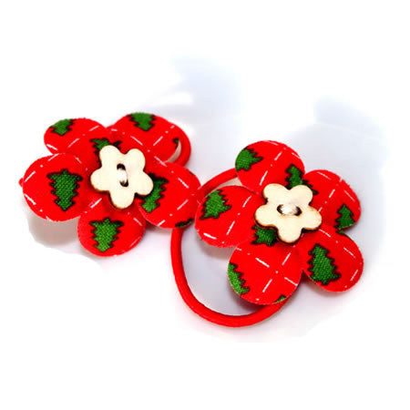 Christmas Tree Patterned Flower Bobbles - Christmas Collection - Baby Hair UK