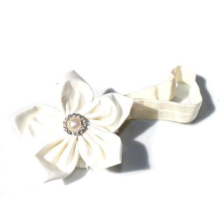 Cotton Pearl Flower Headband - Boutique Wedding Collection - Baby Hair UK