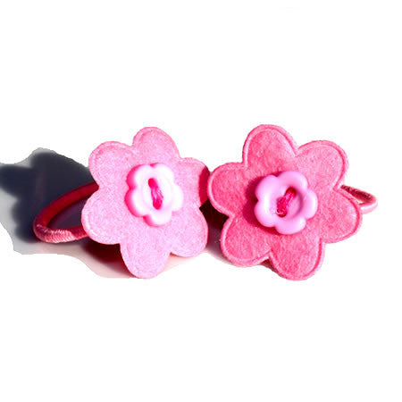 Felt Flower Button Hair Bobbles - Hair Bobbles - Baby Hair UK