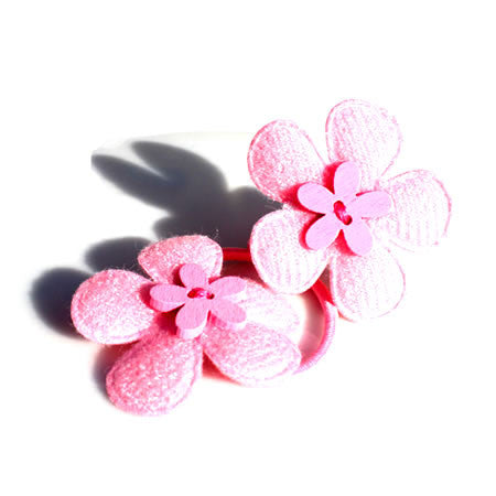 Flower with Button Hair Bobbles - Hair Bobbles - Baby Hair UK