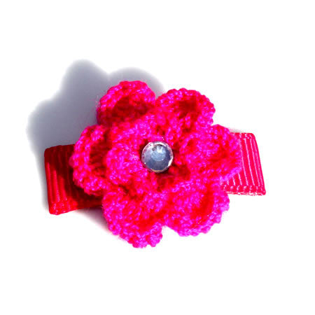 Crochet Sparkle Flower Hair Clip - Hair Clip - Baby Hair UK