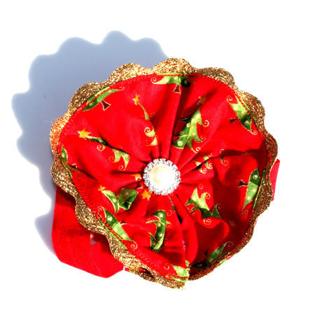 Red Christmas Tree Boutique Headband - Christmas Collection - Baby Hair UK