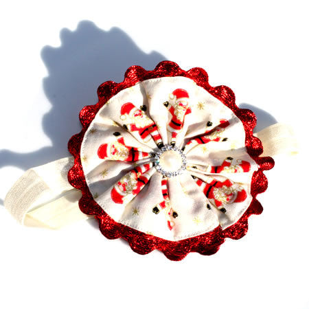 Cream Santa Boutique Headband - Christmas Collection - Baby Hair UK