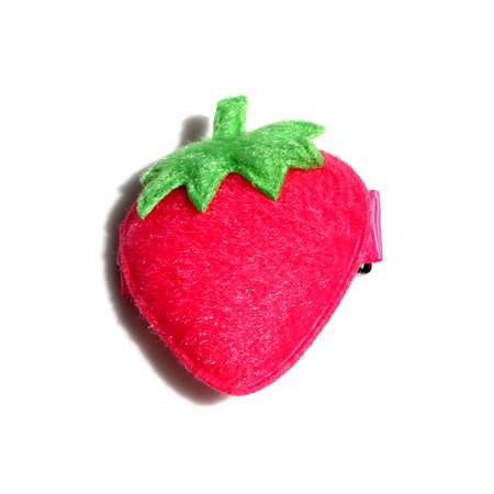 Large Fluffy Strawberry Hair Clip - Hair Clip - Baby Hair UK