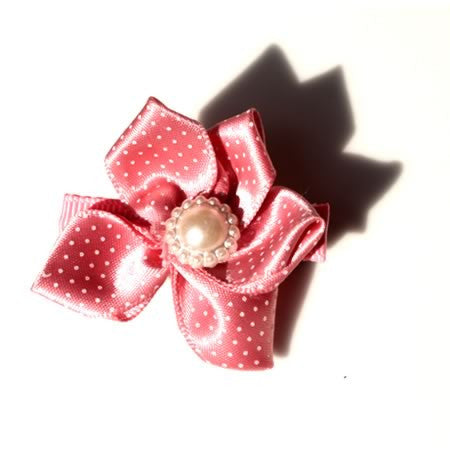 Large Polka Dot Satin Flower Hair Clip - Hair Clip - Baby Hair UK