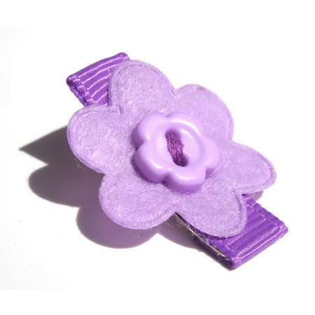 Felt Flower with Button Hair Clip - Hair Clip - Baby Hair UK