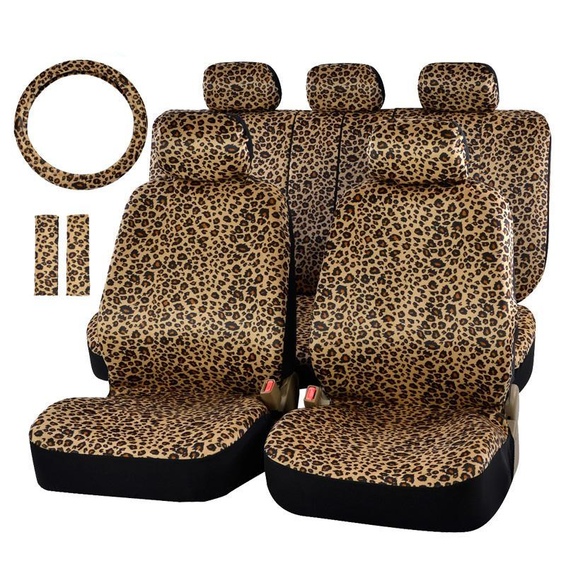 Luxury Leopard Print Universal Car Seat Cover With Steering Wheel