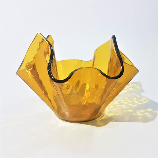 Amber aqualux Chance Brothers glass handkerchief vase circa 1960 - Be Bold As Brass