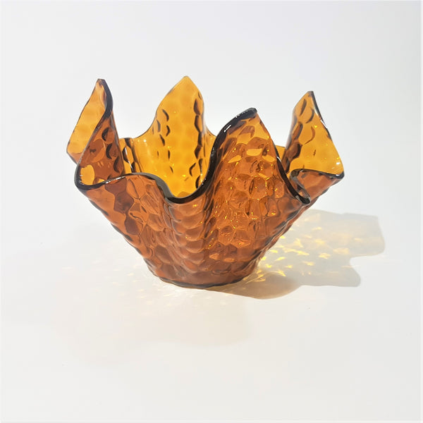 Amber Hammered Aqualux Chance Brothers Glass Handkerchief Vase - Be Bold As Brass