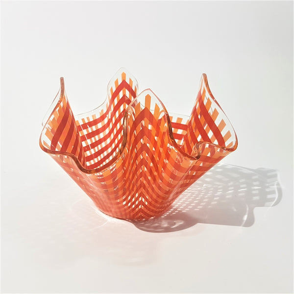 Orange Lattice Chance Brothers Glass Hankerchief Vase - Be Bold As Brass
