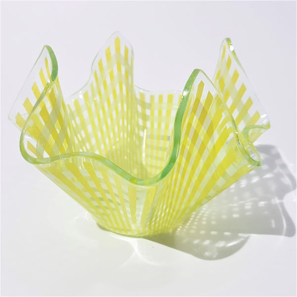 Yellow Lattice Chance Brothers Glass Handkerchief Vase - Be Bold As Brass