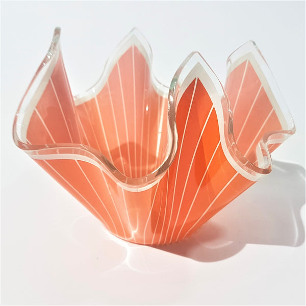 Orange Striped Chance Brothers Glass Handkerchief Vase - Be Bold As Brass