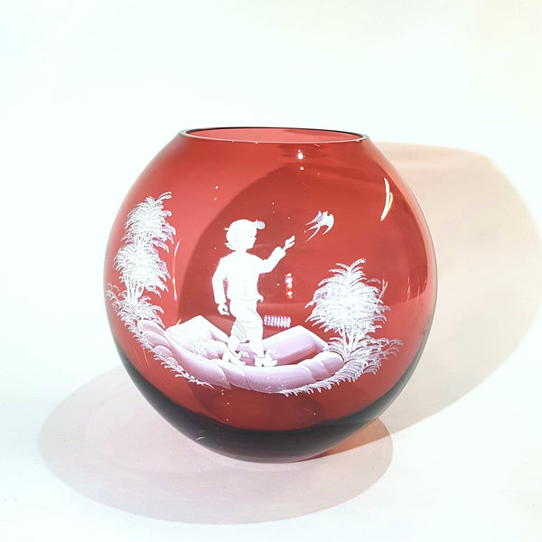 Mary Gregory Boy With Bird Cranberry Glass Round Vase - Be Bold As Brass